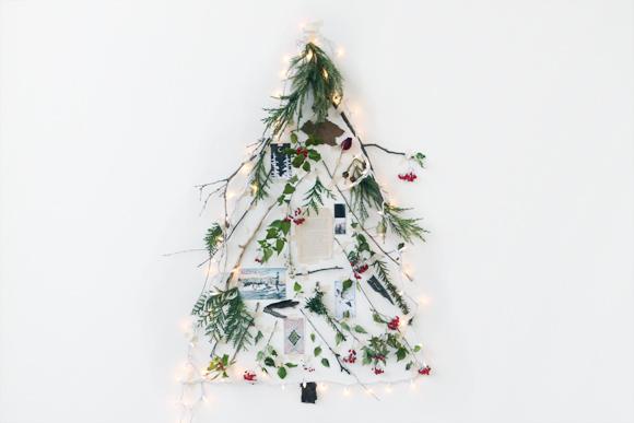 Ένα φυσικό χριστουγεννιάτικο δέντρο φτιαγμένο με κλαδιά, αναμνήσεις και αγάπη.