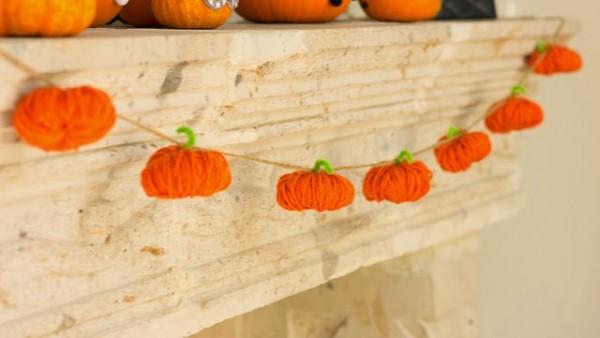 γιρλάντα κολοκύθα μαλλί χειροτεχνία φθινόπωρο halloween